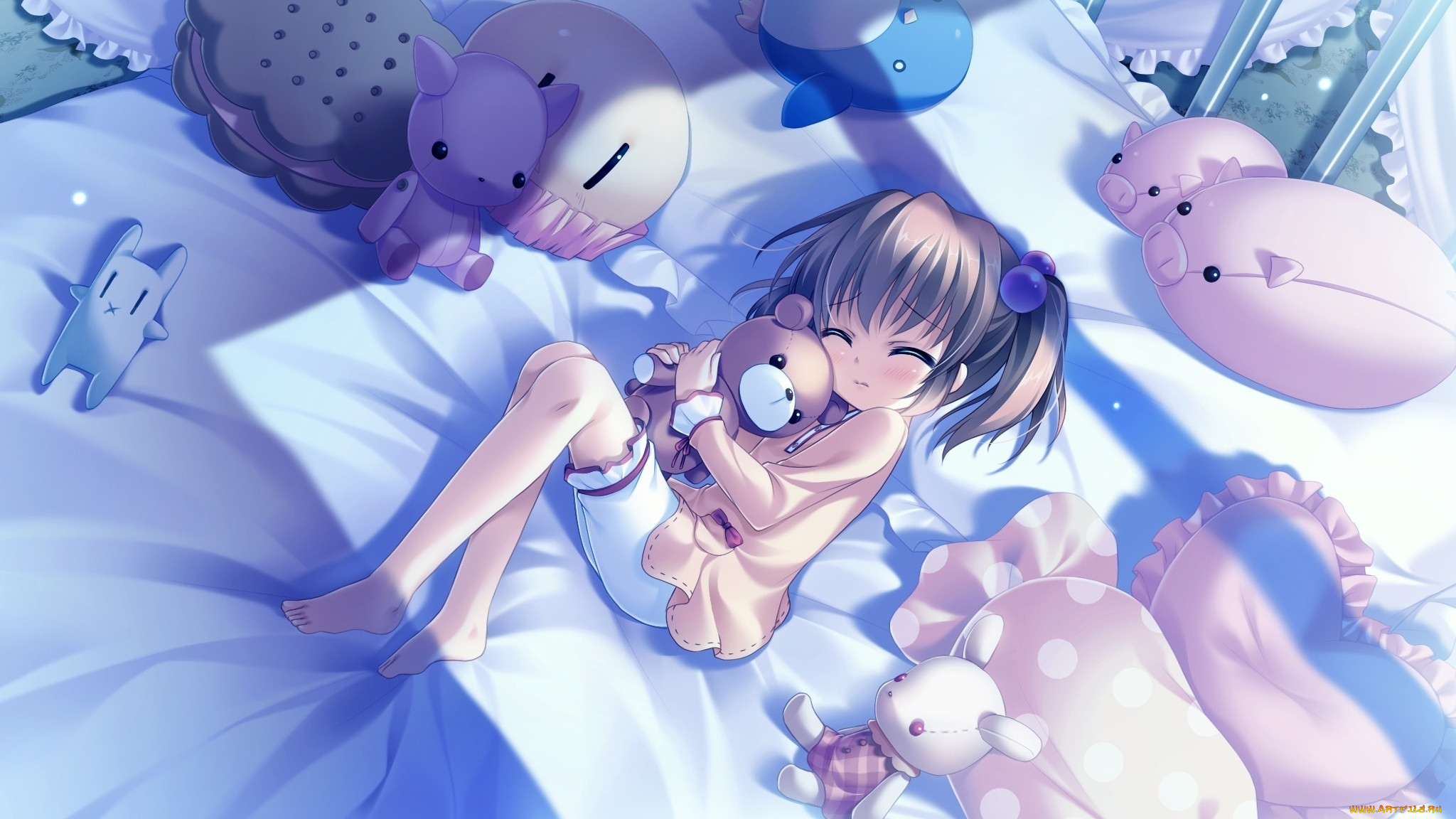 аниме, *unknown, другое, девочка, игрушки, постель